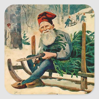 Jultomten 1898 Swedish Magazine - Santa's Elf Square Sticker