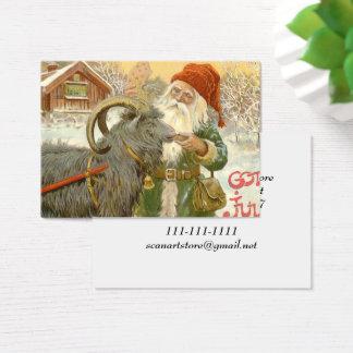 Jultomten Feeds Yule Goat a Cookie Business Card