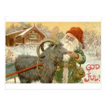 Jultomten Feeds Yule Goat a Cookie Postcard