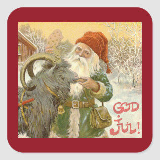 Jultomten Feeds Yule Goat a Cookie Square Sticker