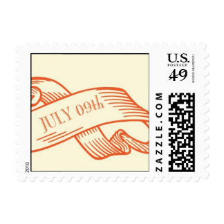 July 09th on a ribbon postage stamp