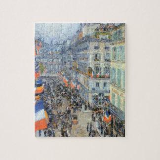 July 14th, Rue Daunou by Hassam, Vintage Fine Art Puzzles