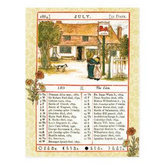 July 1884 Almanac.  Leo, The Lion Post Cards