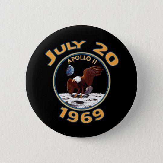 July 20, 1969 Apollo 11 Mission to the Moon Pinback Button