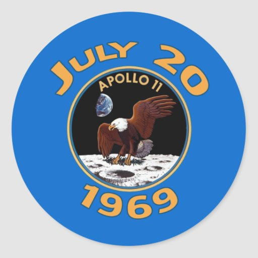 July 20, 1969 Apollo 11 Mission to the Moon Classic Round Sticker