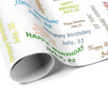 July, 22 Birthday Gift Wrapping Paper