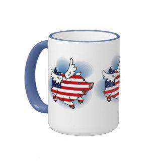 July 4 - 4th of July Patriotic Flying Pig(s) Coffee Mugs