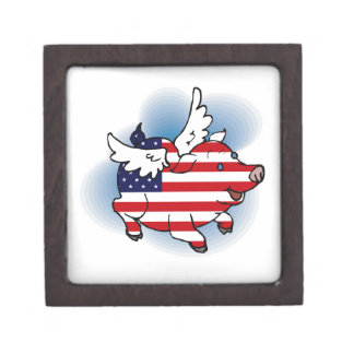 July 4 - 4th of July Patriotic Flying Pig(s) Premium Jewelry Boxes