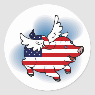 July 4 - 4th of July Patriotic Flying Pig Stickers