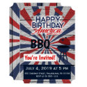 July 4 BBQ Happy Birthday America flat invitation