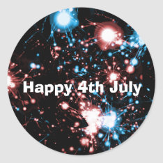 July 4 Fireworks Name Gift Tag Bookplate at Zazzle
