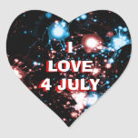 July 4 Fireworks Name Gift Tag Bookplate Heart Heart Sticker