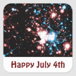 July 4 Fireworks Name Gift Tag Bookplate Square Sticker