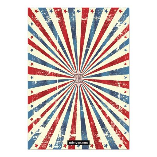 July 4 Independence Day BBQ Grunge Invitation (back side)