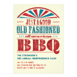 July 4 Independence Day BBQ Grunge Invitation