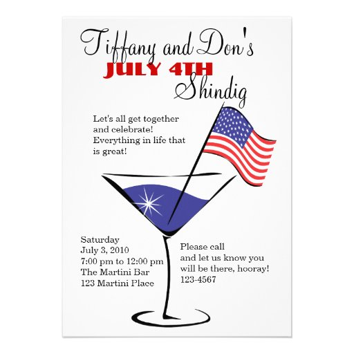 July 4 Martini Shindig! Personalized Invitation