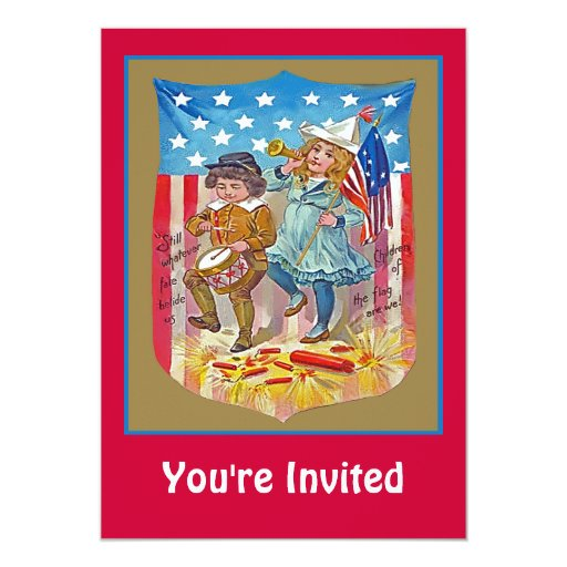 july 4 party 5x7 paper invitation card