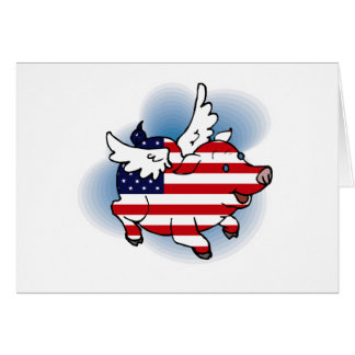 July 4 Patriotic Flying Pig Independence Day Card
