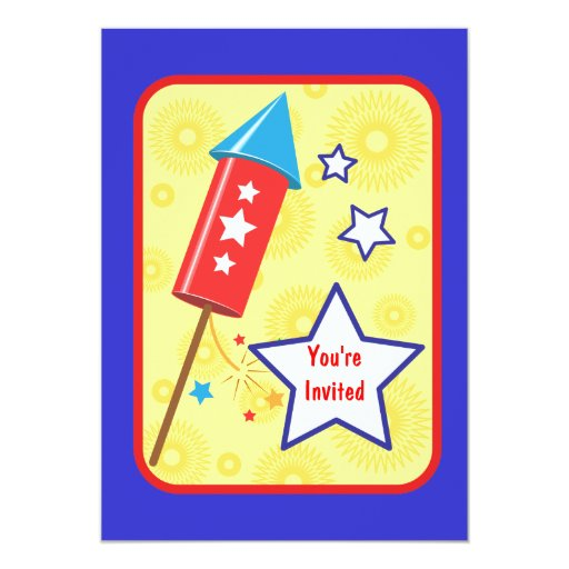"July 4 rocket and firework 5"" x 7"" invitation card"