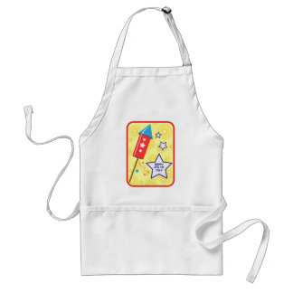 July 4 rocket and firework adult apron