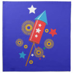 July 4 rocket and firework cloth napkin