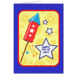 July 4 rocket and firework greeting cards