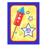 July 4 rocket and firework post card