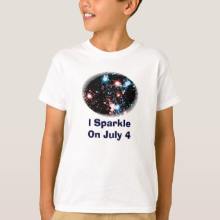 July 4 Star Spangled Fireworks Funny Sparkle T-shirt at Zazzle