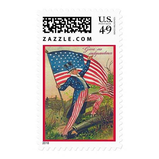 july 4 uncle sam an flag stamp