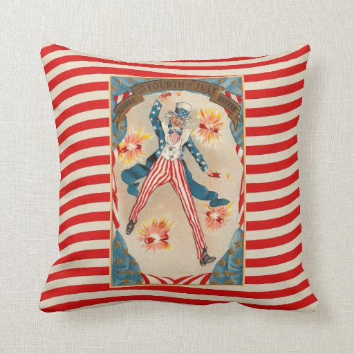 July 4 Uncle Sam Patriotic Vintage Americana Throw Pillow