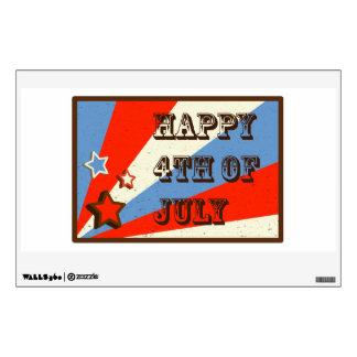 July 4 with stars and sunburst pattern wall sticker