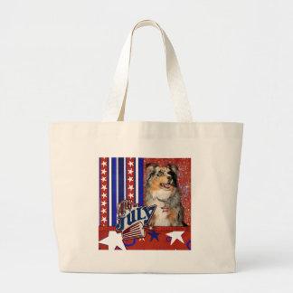 July 4t Firecracker - Australian Shepherd Canvas Bags