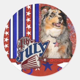 July 4t Firecracker - Australian Shepherd Round Stickers