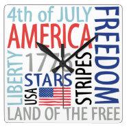 July 4th America Patriotic Clock
