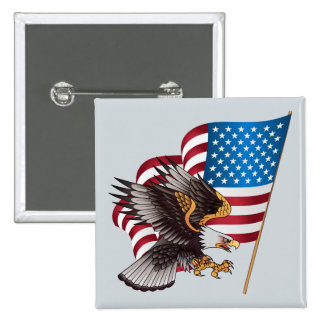 July 4th American Flag and Eagle Button