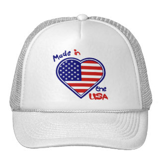 July 4th American Flag Heart Made in the USA Trucker Hat