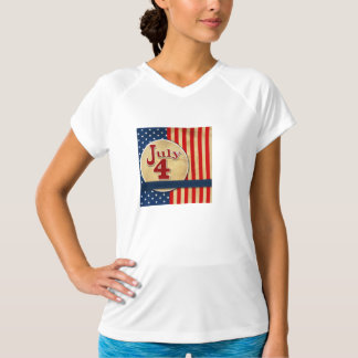 July 4th American Flag Womens Active Tee