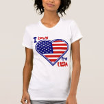 July 4th American Heart Flag I Love the USA Ladies Shirts