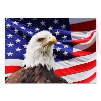 July 4th Bald Eagle with American Flag Card