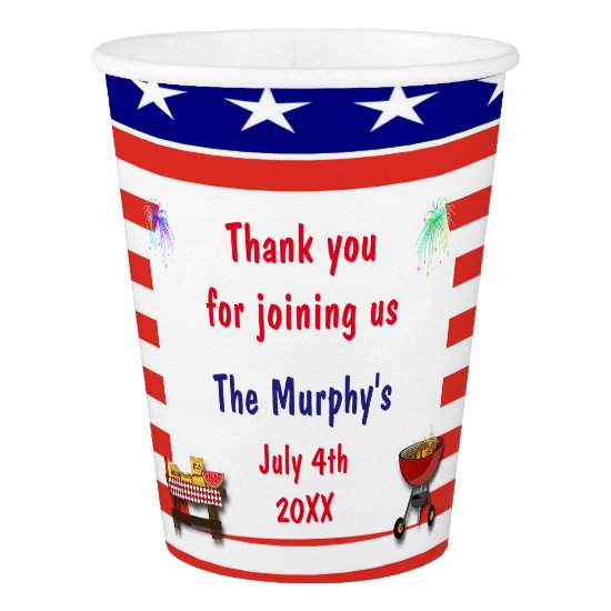 July 4th Barbecue Paper Cups