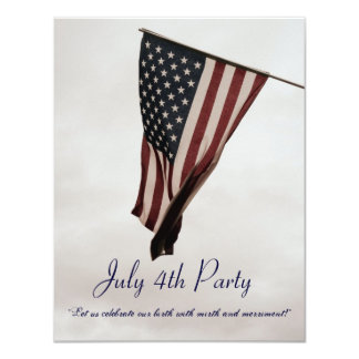 July 4th BBQ Party-with Ye Olde Humor-Customizable 4.25x5.5 Paper Invitation Card