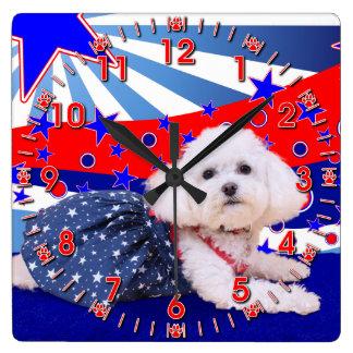 July 4th - Bichon Frise - Mia Wall Clocks