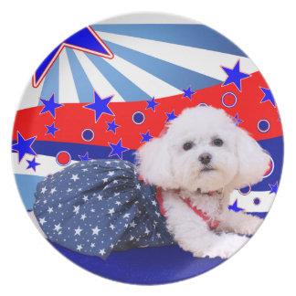 July 4th - Bichon Frise - Mia Party Plate