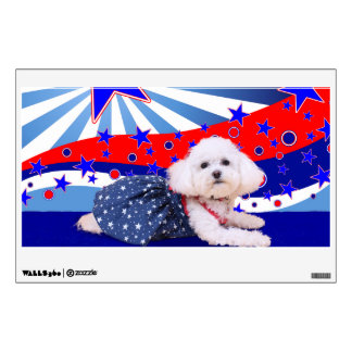 July 4th - Bichon Frise - Mia Wall Decal