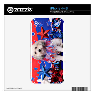 July 4th - Bichon Frise X - Macy Decal For iPhone 4