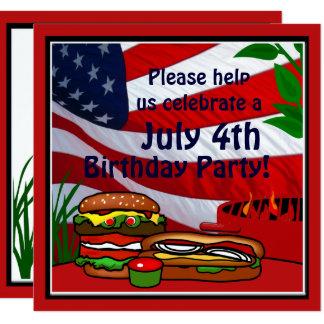 July 4th Birthday Grill Picnic Hamburger Hotdog Card