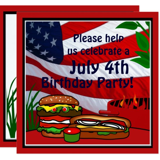July 4th Birthday Grill Picnic Hamburger Hotdog Card