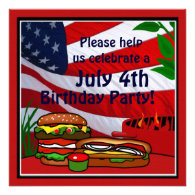 July 4th Birthday Grill Picnic Hamburger Hotdog Invitations
