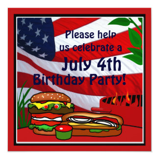 July 4th Birthday Grill Picnic Hamburger Hotdog Invitations