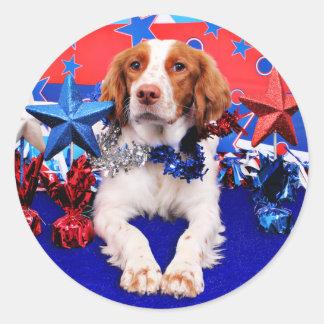 July 4th - Brittany Spaniel - Charlie Classic Round Sticker
